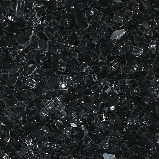 """Picture of 1/4"""" Black  American Fireglass (10 lbs)"""